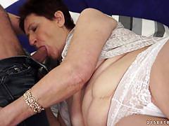 Horny grandma nailed on the sofa