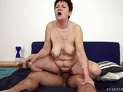 Horny grandma nailed on the sofa