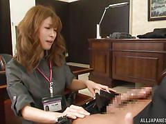 Sexy asian undressing for her boss