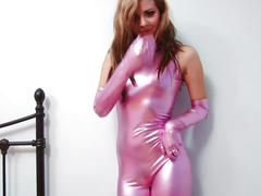 Natalia's sexy curves show through her tight latex body