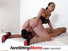 brunette, milf, pussy licking, old/young, facesittingmoms, old, mom, mother, mature, older-woman, cougar, european, czech, facesitting, high-heels, stockings, old-young, pussy-licking