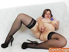 Chubby wife masturbating