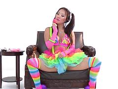 Sexy asian asa akira enjoys a colourful masturbation session