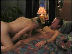 Cute blonde with huge tits fucked by bank robber in hotel bed after heist