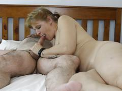 Wife sucking hubbies cock, cowgirl.