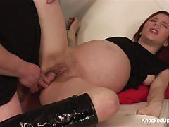 Pregnant brunette loves to fuck