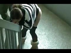 Glasses wife creampie sex in emergency stairs