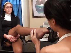 Nun and student feet sniff