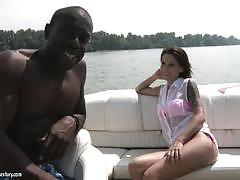 Big black cock stretches pretty brunettes asshole