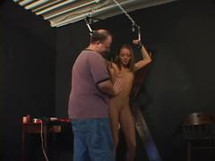 Small tits gal has her pussy teased by her master