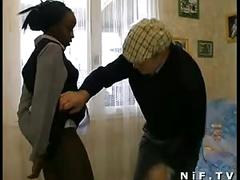 French black maid fucked in 3some with papy voyeur