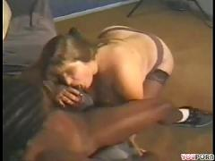 Chubby woman fucks massive black cock