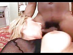 Hot blonde loves black dick