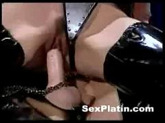 Two fetish girls enjoy each other,  then comes a man