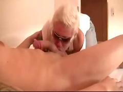 Hot blonde sucks dick and takes the entire load!!