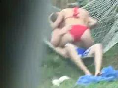 Voyeur hidden cam spy teen couple sex in garden