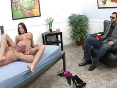 Naughty wife fucking with a perfect stranger in front of her cuckold husband