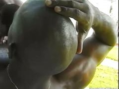 Gritty and dirty foursome with monster black cocks outdoors