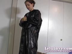 Secretary gets home puts on raincoat & boots then dildo fuck