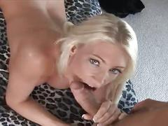 Sizzling young blonde takes on hard cock