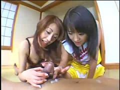Two asian  amateur chicks give a great blow job