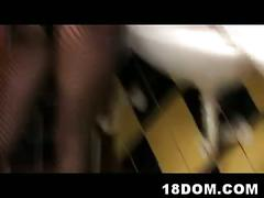 Femdom video recorded in the bar wc with two nasty sluts