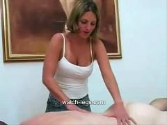 Massage girl gives customer a handjob