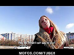 Czech girl with perfect tits is paid for a public suck  fuck