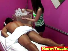 Asia masseuse swallows cum after tugging