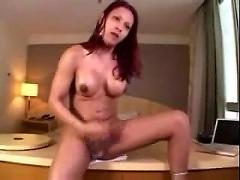 Gorgeous shemale alana ferreira strokes and cums