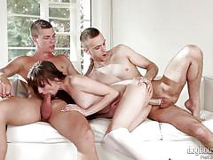 Lusty couple having fun with third horny partner @ bi curious couples #11