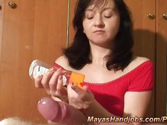 Maya giving nice handjob