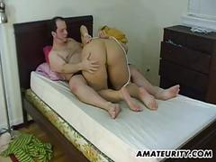 Busty tied amateur gf gives hot blowjob