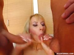 All internal ashley lets two cocks deep in her cunt and they come
