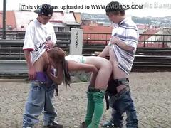 Young teens risky public railway station threesome