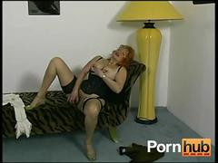 Red-headed german granny shows off for the camera - pornhub.com