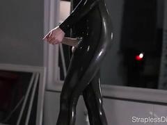 cumshot, wet, oil, high-heels, solo, latex, strapon, pantyhose, catsuit, self-facial, office-lady, strapless-dildo