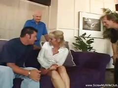 Blonde swinger wife tries two cocks