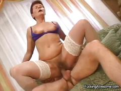 Mature gal gets her hairy pussy drilled