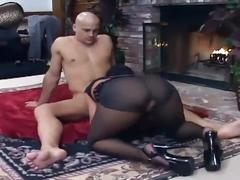 Babe with big boobs fucking on the floor in sheer crotchless pantyhose