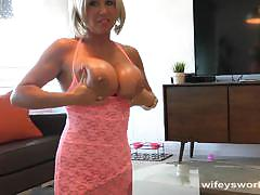 Blonde wife jerks this hard cock