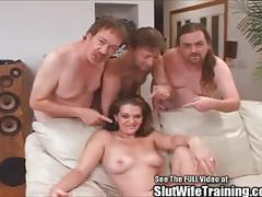Nice rack tall brunette fucks 3 dudes