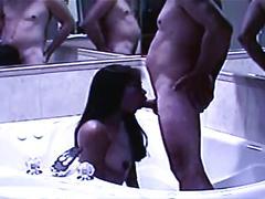Philippine blowjob queen deepthroats throbbing white cock