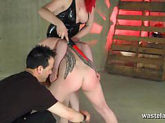 Bound babe sucking cock