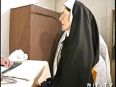 French nun fucked and facialized with weird anal insertions