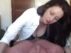 Lactating milf riding her hubby