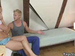 Brutal deepthroat and hard bang for blonde gf