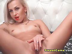 Gorgeous blonde masturbating