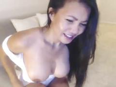 Sexy asian leilee webcam teasing on the sofa