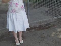 Amateur granny public flash 3